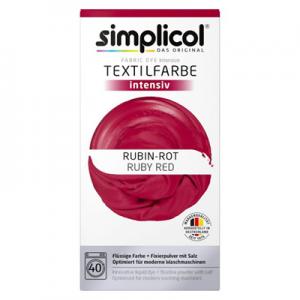Vopsea profesională Simplicol Intensiv pentru textile - ROȘU RUBINIU 400 g